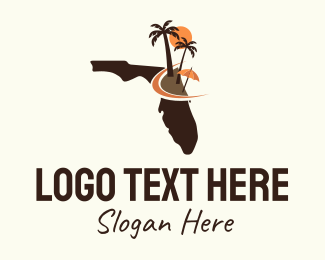 Florida - Florida Map Beach Scene logo design