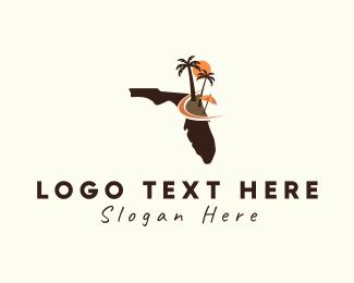 Guide - Florida Map Beach Scene logo design