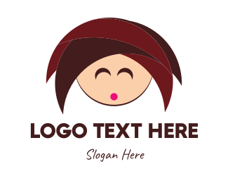 Characters - Cute Girl Cartoon logo design