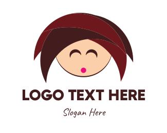 Hangover - Cute Girl Cartoon logo design