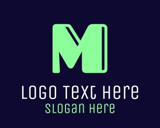 Neon Light -  Mint Letter M logo design