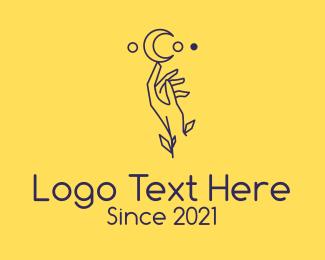 Blinds - Minimalist Astrology Moon Hand logo design