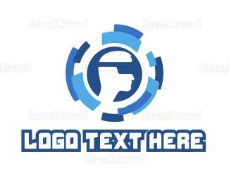 Man - Modern Circle VR Man logo design