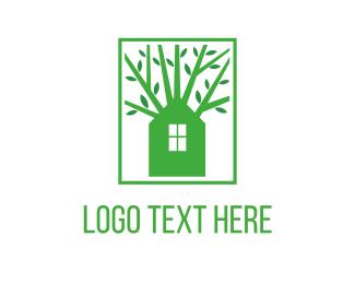 Vegetarian - Green House logo design