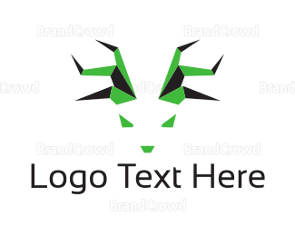 Antlers - Green Abstract Deer logo design
