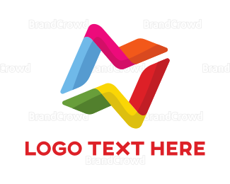 Creative Services - Colorful Letter N Connection logo design