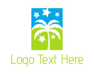 Sahara - Palm & Stars logo design