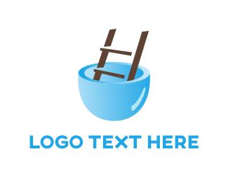 Pool And Spa - Pool Ladder logo design