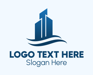 Upmarket - Blue Corporate Skyscraper logo design