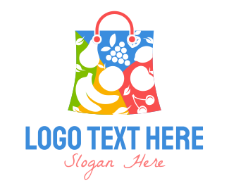 Biodegradable - Fruit Shopping Bag logo design