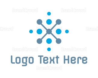 Science - Modern X Dots logo design