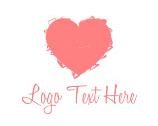 Scribble - Pink Heart Art Handmade logo design