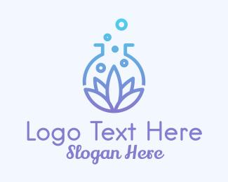 Science Lab - Botanical Laboratory Flask logo design