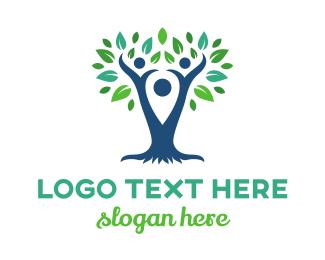 Route - Blue Pin Tree logo design