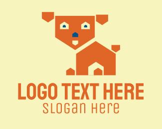 Animal Training - Cute Dog House  logo design