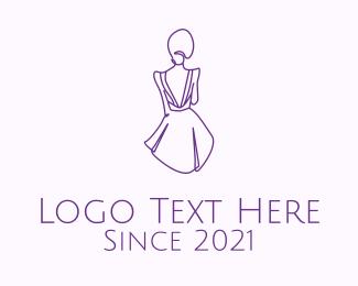 Dress - Woman's Dress Monoline logo design