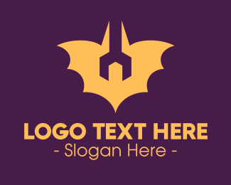 Repair - Yellow Repair Bat logo design