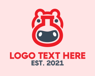 Scientist - Red Hippo Lab logo design