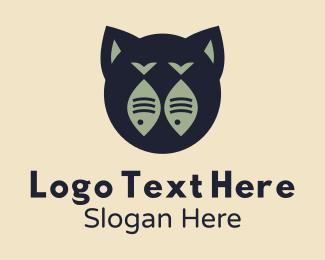 Cats - Twin Fish Cat logo design