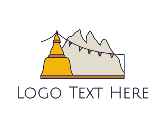 Retreat - Tibet Mountains logo design