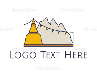 Buddhism - Tibet Mountains logo design