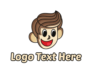Brown Boy - Happy Brown Haired Cartoon Boy logo design