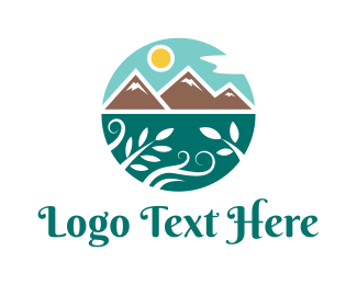 Everest - Stylized Mountain Valley logo design