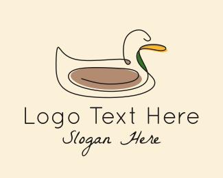 Duck - Duck Bird Monoline logo design