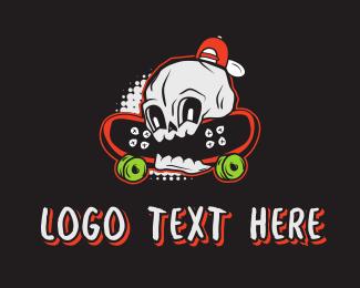 Mascot - Skateboarding Skull logo design