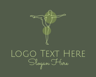 Wellbeing - Green Yoga Stretch Monoline logo design