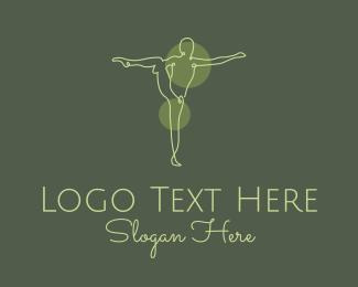 Gymnast - Green Yoga Stretch Monoline logo design
