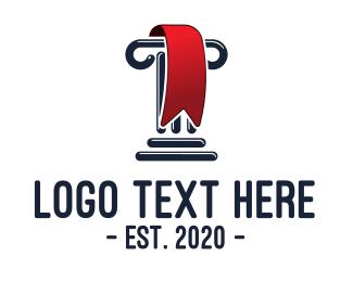 Ionic - Greek Column Red  Ribbon logo design