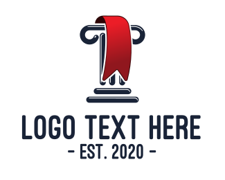 Prize - Greek Column Red  Ribbon logo design