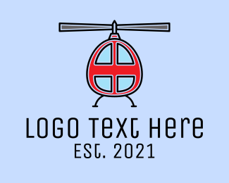 Air Delivery - Rescue Red Helicopter  logo design