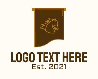 Equestrian - Equestrian Horse Flag logo design