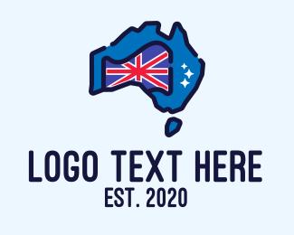 Country - Australian Country Map logo design