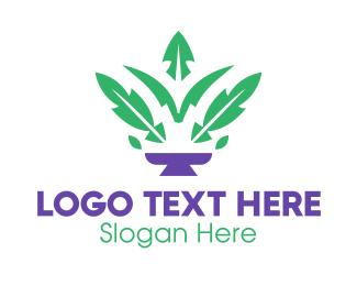 Pot Plant - Fern Leaf Pot logo design