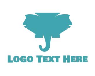 Tusk - Blue Elephant  logo design