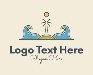 Journey - Surfing Island Wave logo design