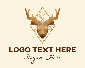 Moose Head - Geometric Stag Head  logo design