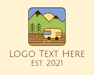 Trailer Van - Mountain Travel Van logo design
