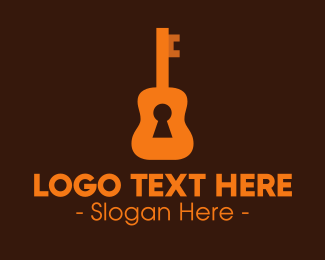 Unlock - Orange Guitar Keyhole logo design