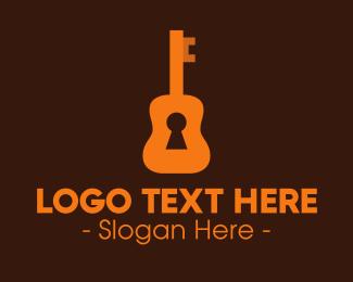 Unlocked - Orange Guitar Keyhole logo design