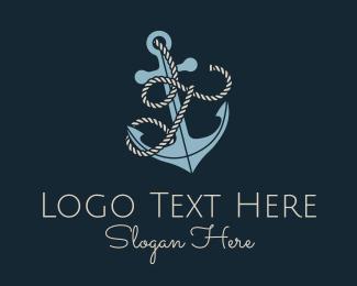 T - Anchor Rope Letter T logo design