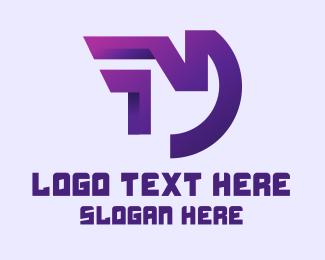 Online Delivery - Purple Gaming Letter M logo design