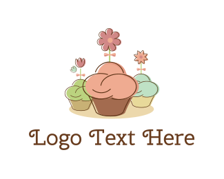 Sweets - Cupcakes & Flowers logo design