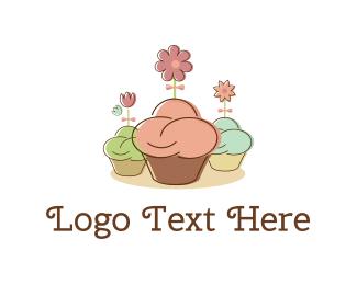 Cupcake - Cupcakes & Flowers logo design