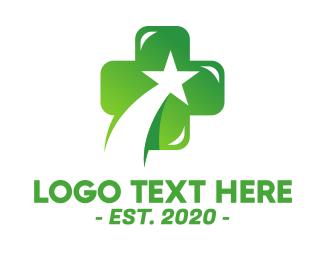Medic - Green Doctor Medical Star Cross logo design