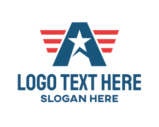 Patriotism - American Patriot Letter A  logo design