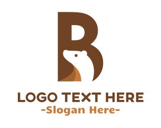 Polar Bear - Bear Letter B logo design